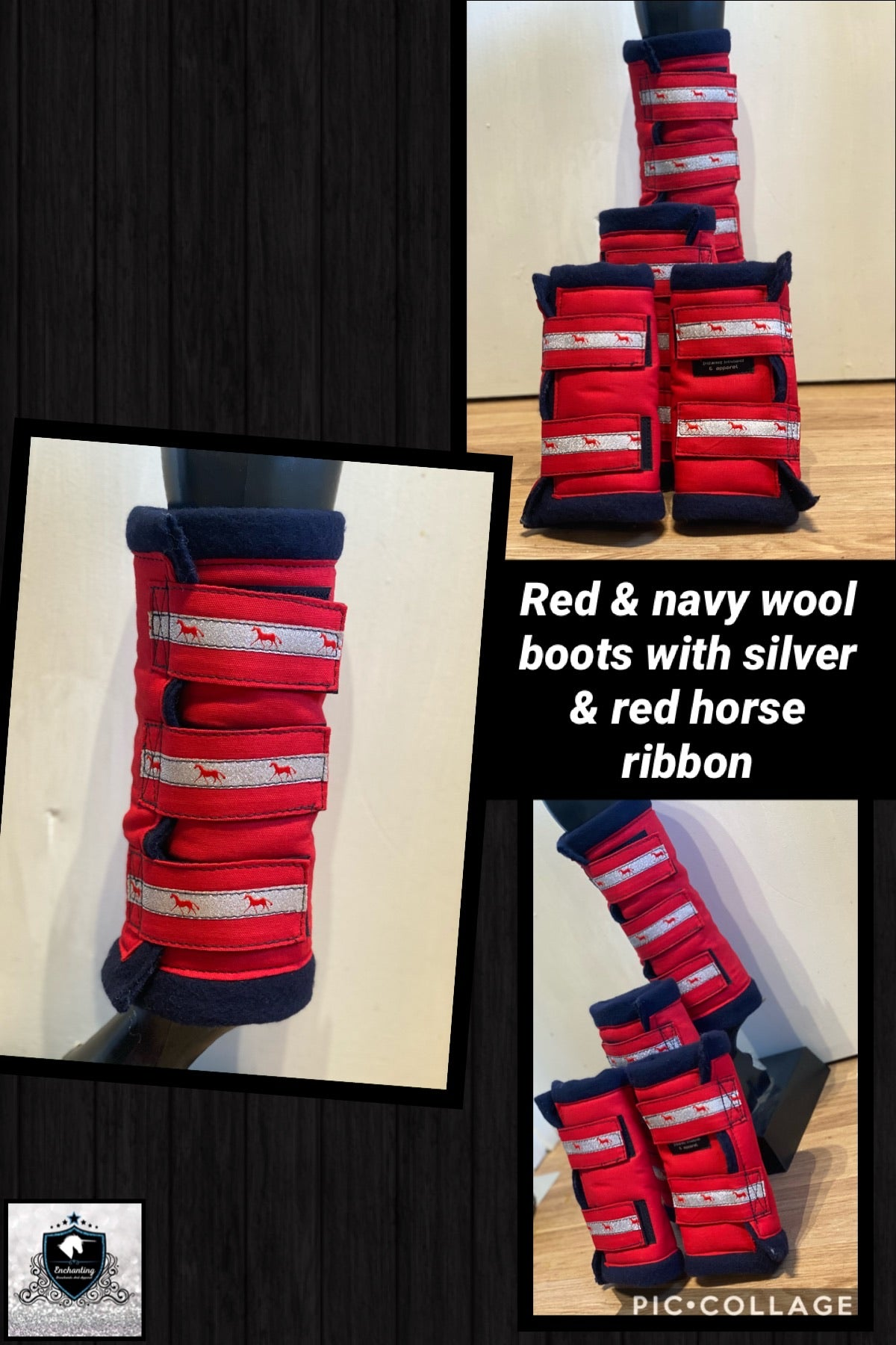 Red & navy wool boots with ribbon