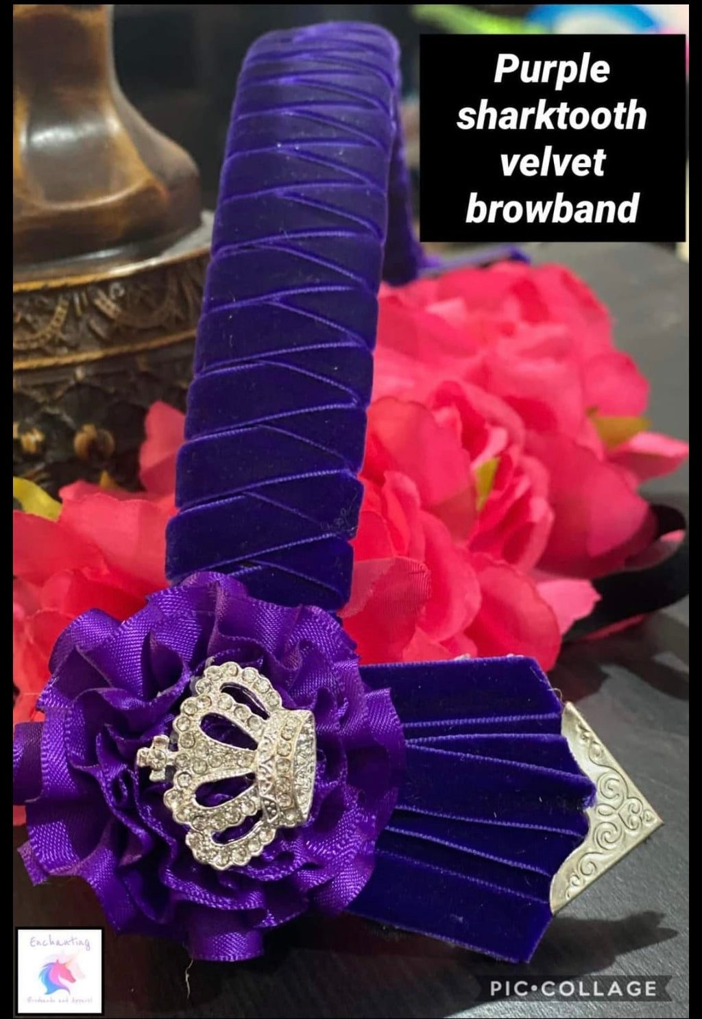 Purple velvet shark tooth style browband