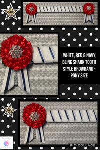 White,red & navy bling shark tooth style browband
