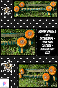 Hunter green & gold browband