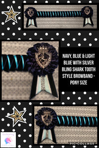 Navy, blue & light blue with silver bling shark tooth style browband