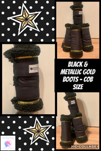 Black & metallic gold boots