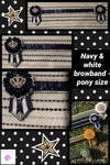 Navy & white bling browband