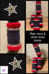 Red & navy wool boots