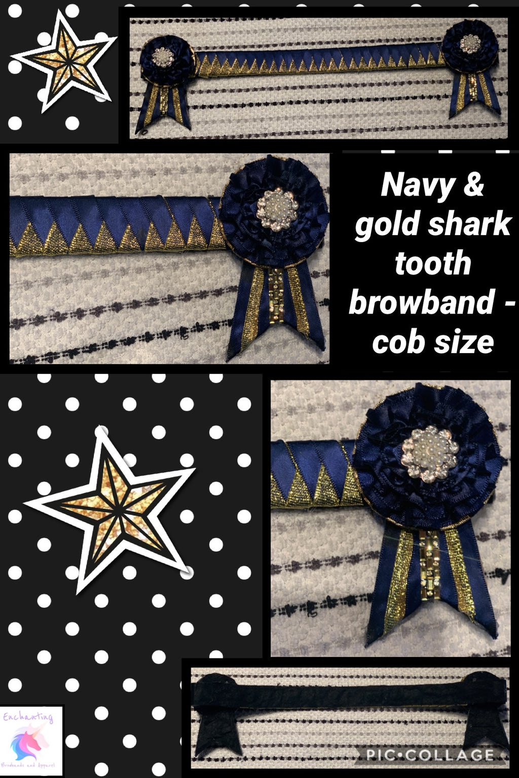 Navy & gold browband