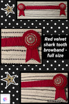 Red shark tooth velvet browband