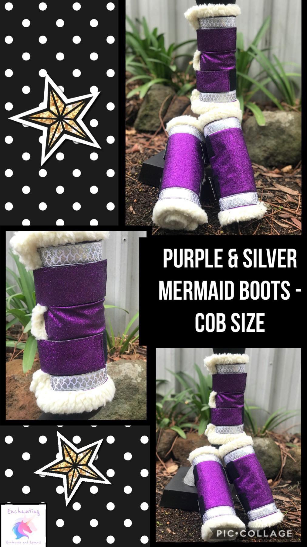 Purple & silver mermaid boots - set of 4