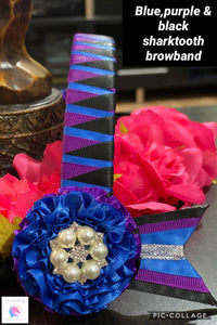 Black,purple & blue shark tooth browband