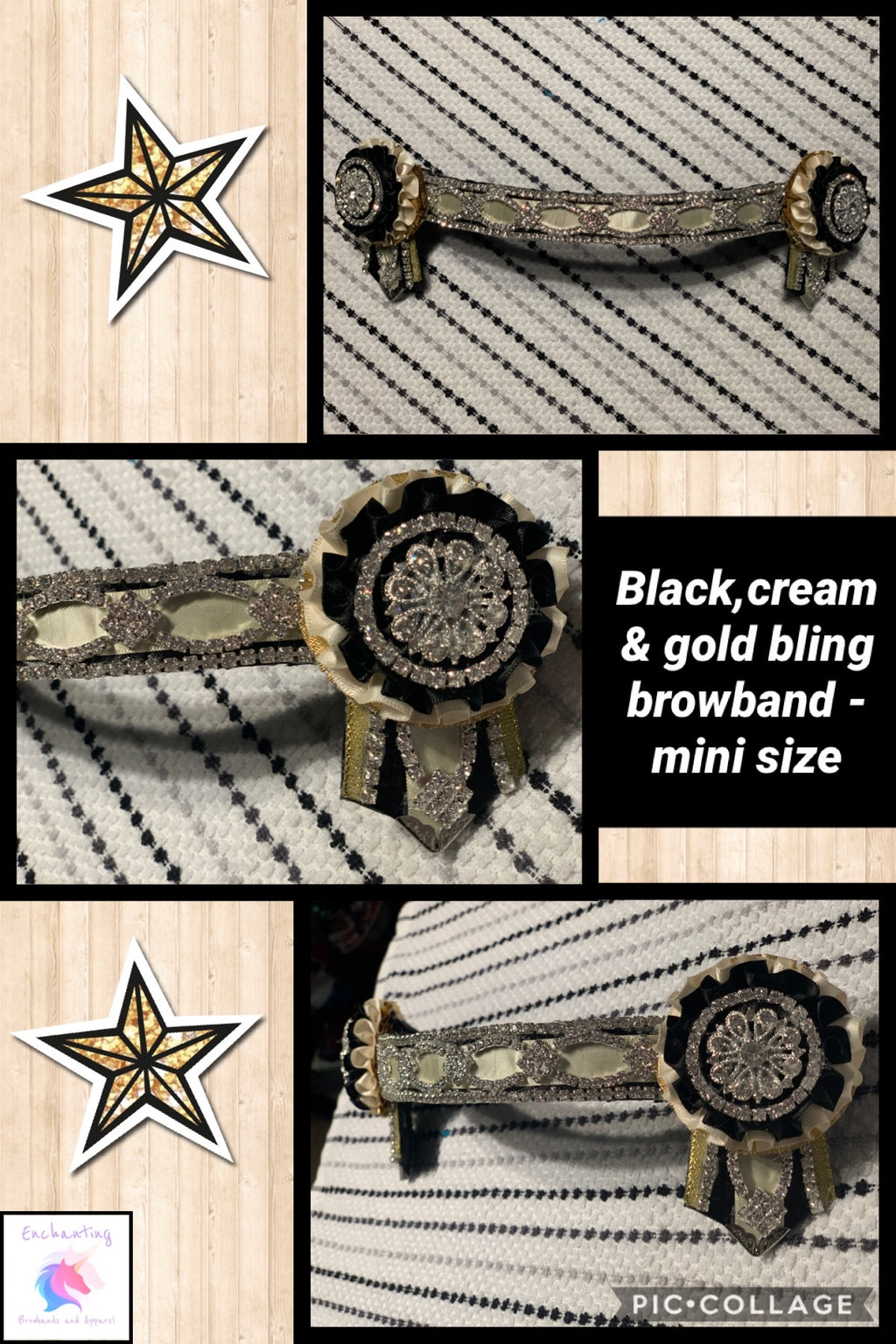 Black, cream & gold bling browband