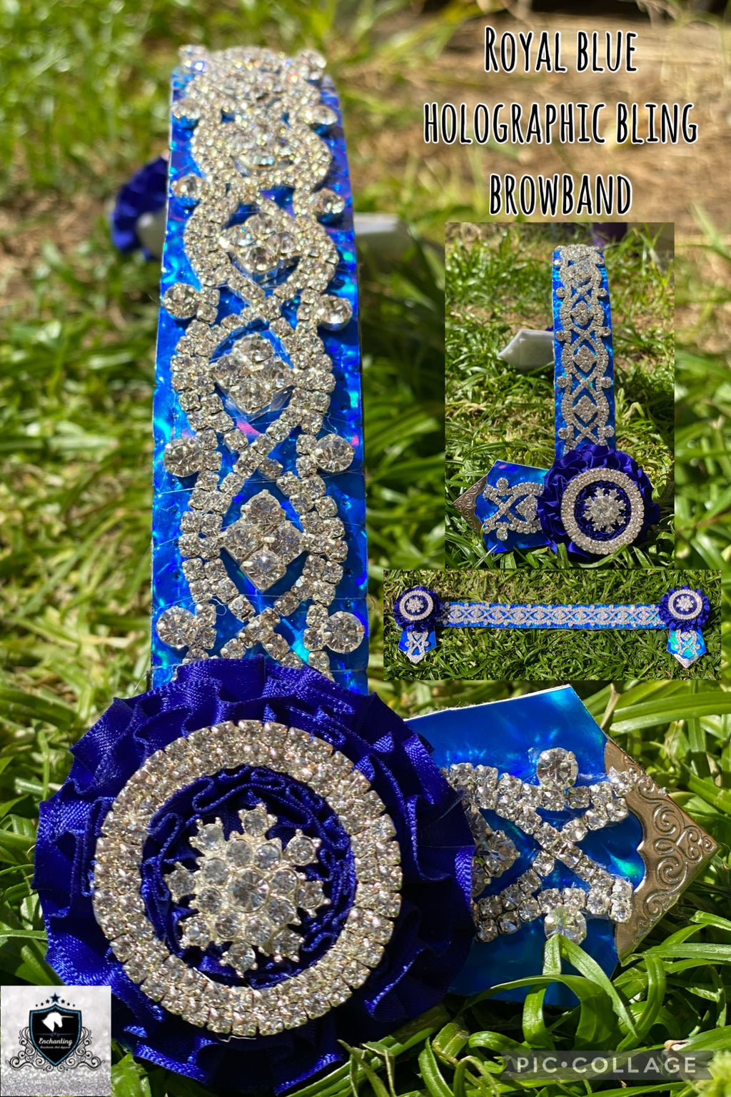 Blue holographic bling browband