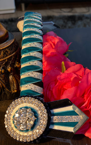 Teal, white, navy & silver bling browband