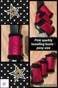 Pink sparkly towelling boots x4