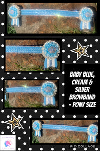 Baby blue, cream & silver browband