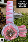 Light pink, white & silver shark tooth browband
