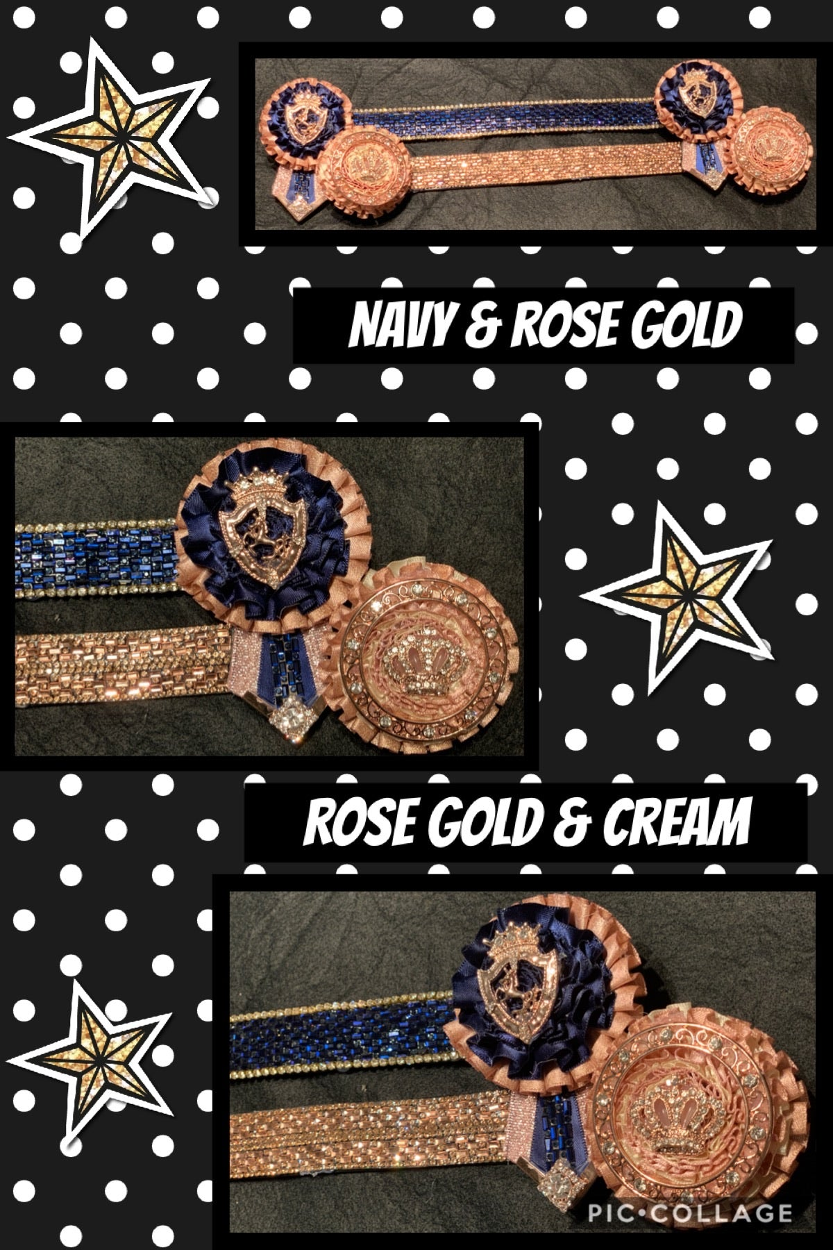 Navy & rose gold Or rose gold & cream browband