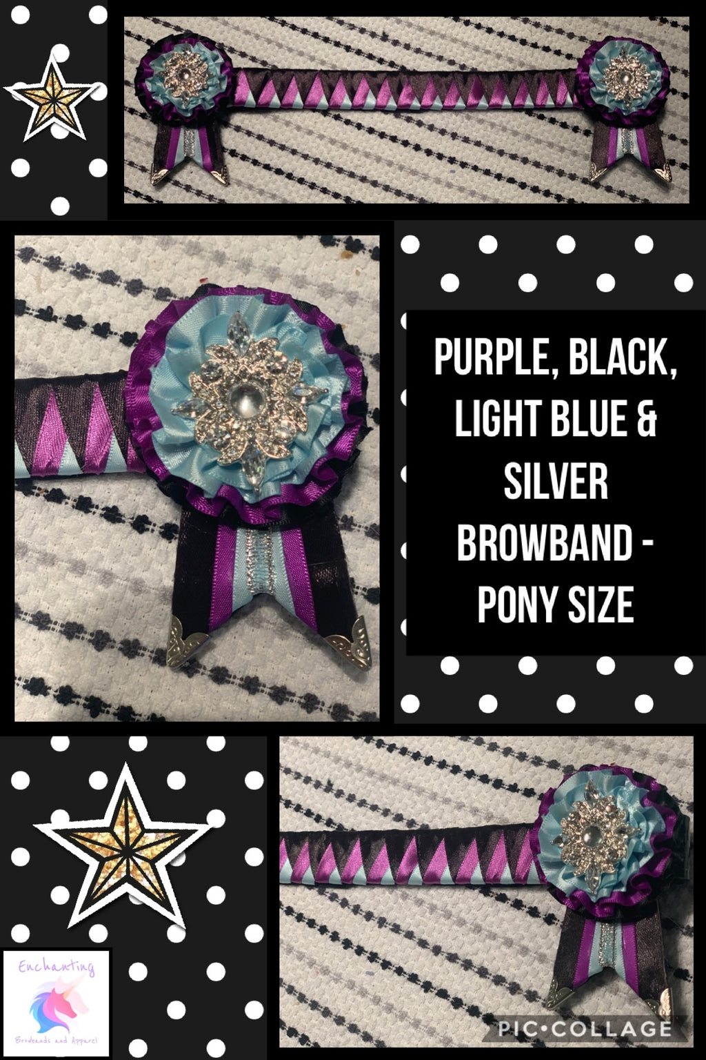 Purple, black & light blue shark tooth browband