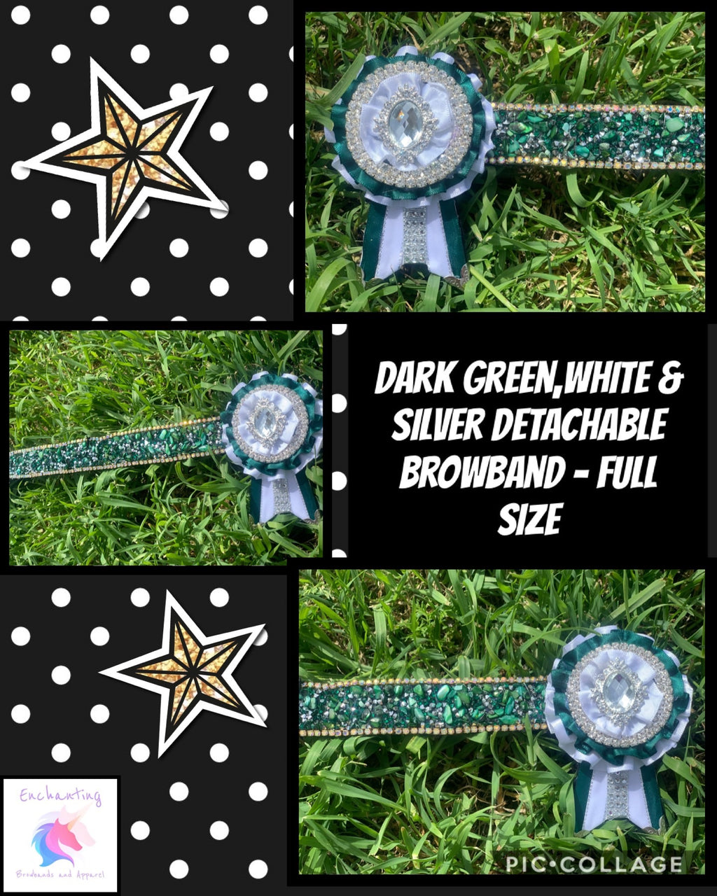 Dark green, white & silver browband