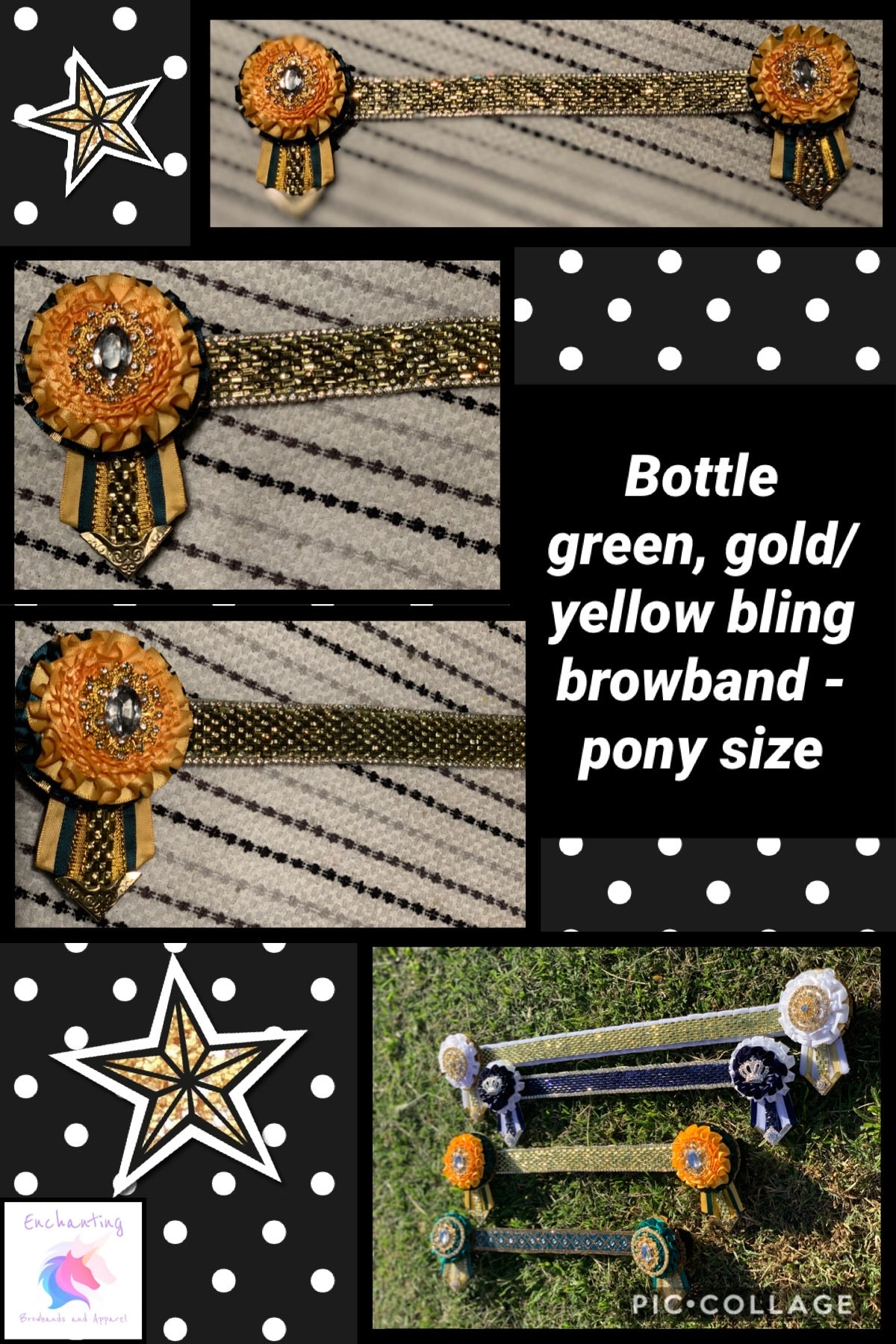 Bottle green, yellow/gold bling browband