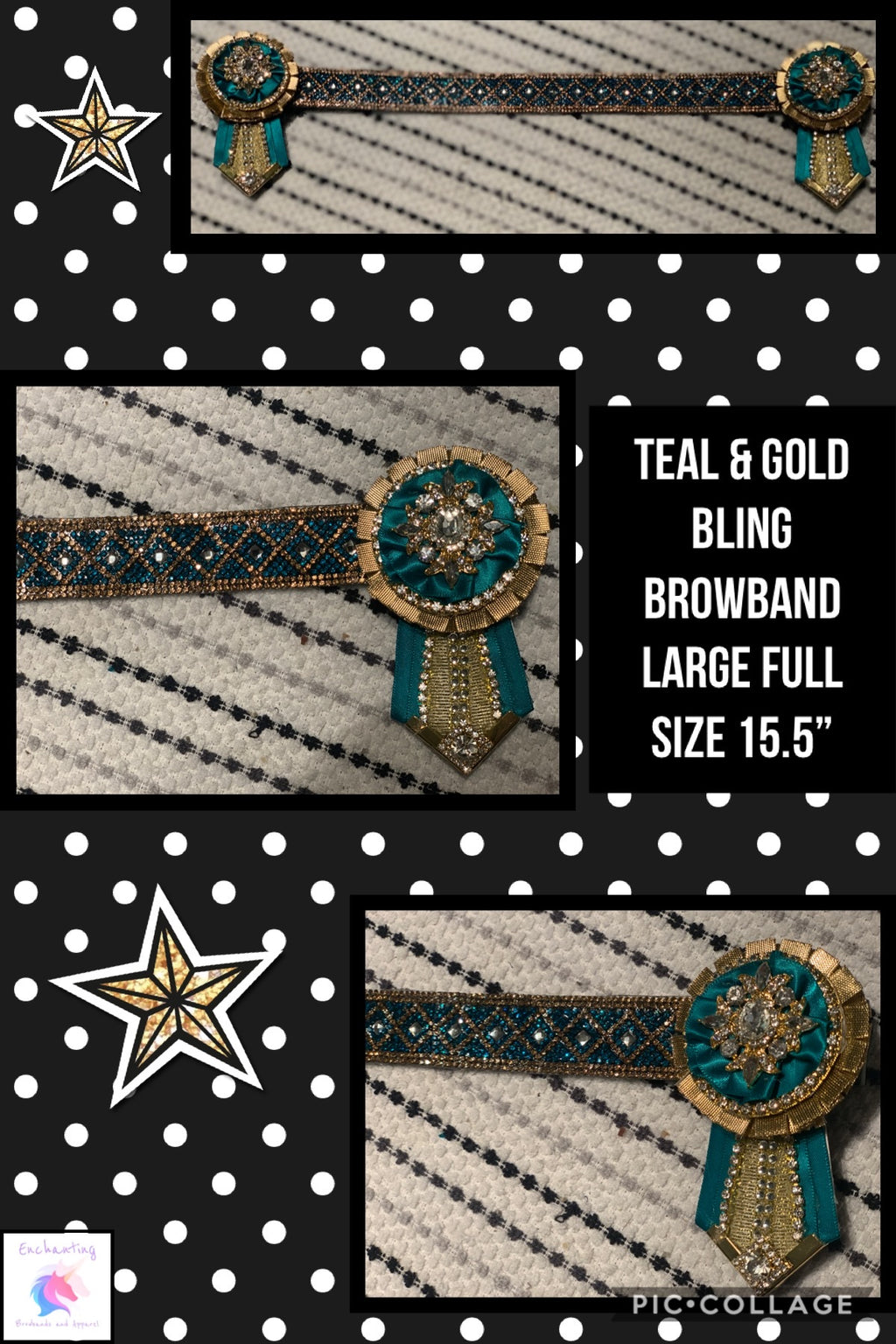Teal & gold bling browband