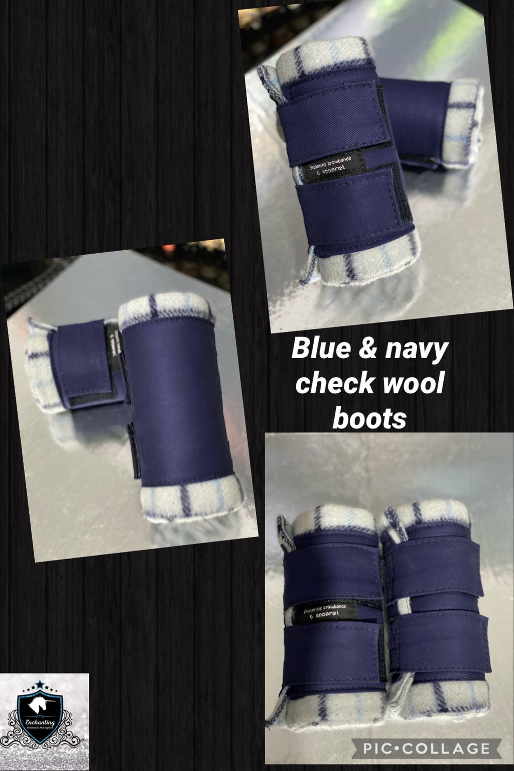 Blue check & navy boots set of 4