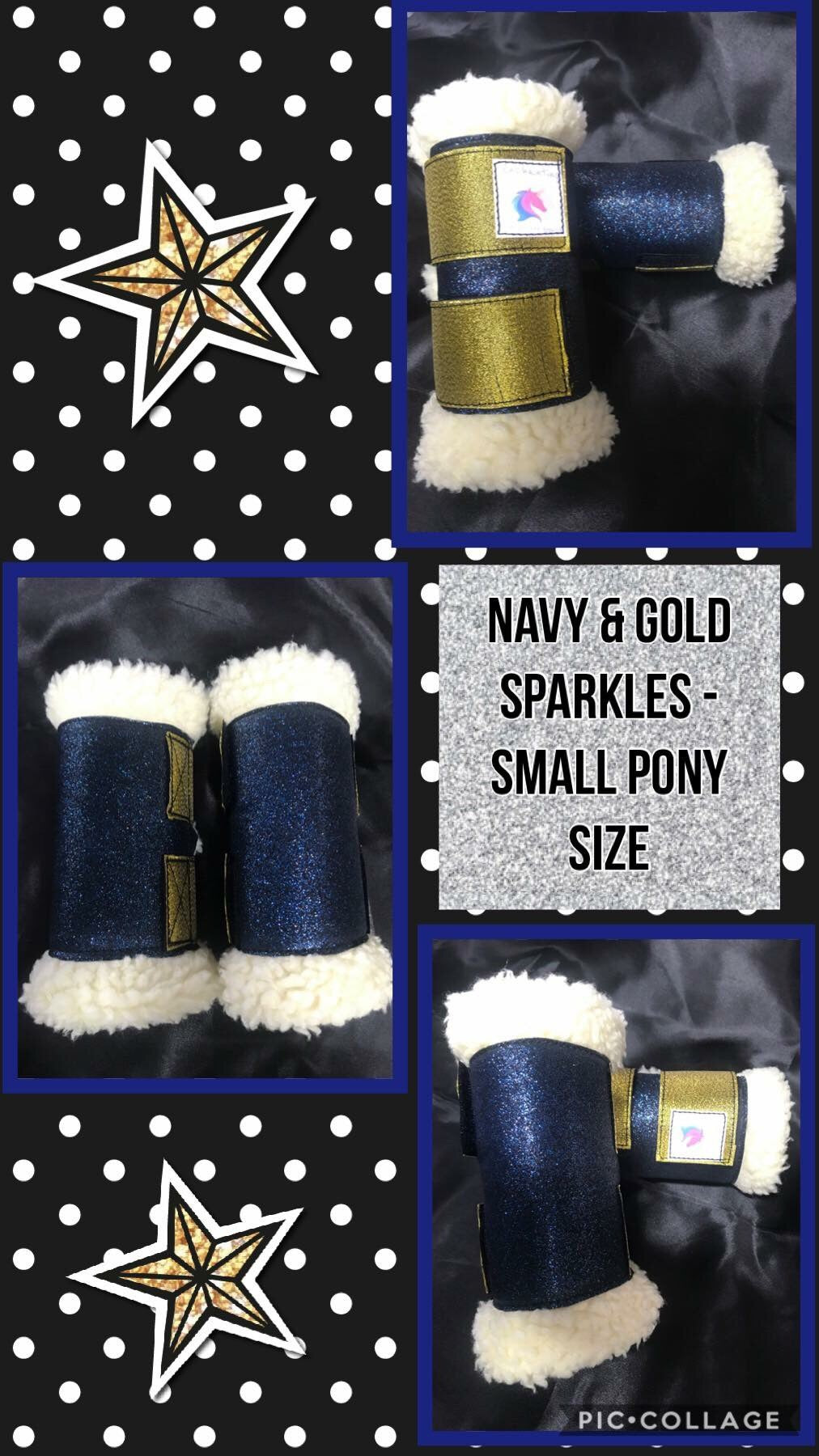 Navy sparkles with gold tabs x 4