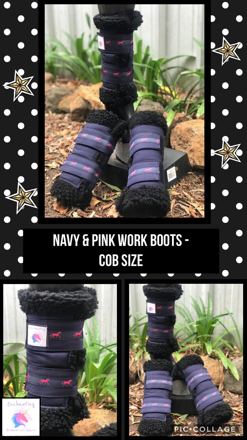 Navy & pink boots