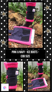 Navy & pink ice boots