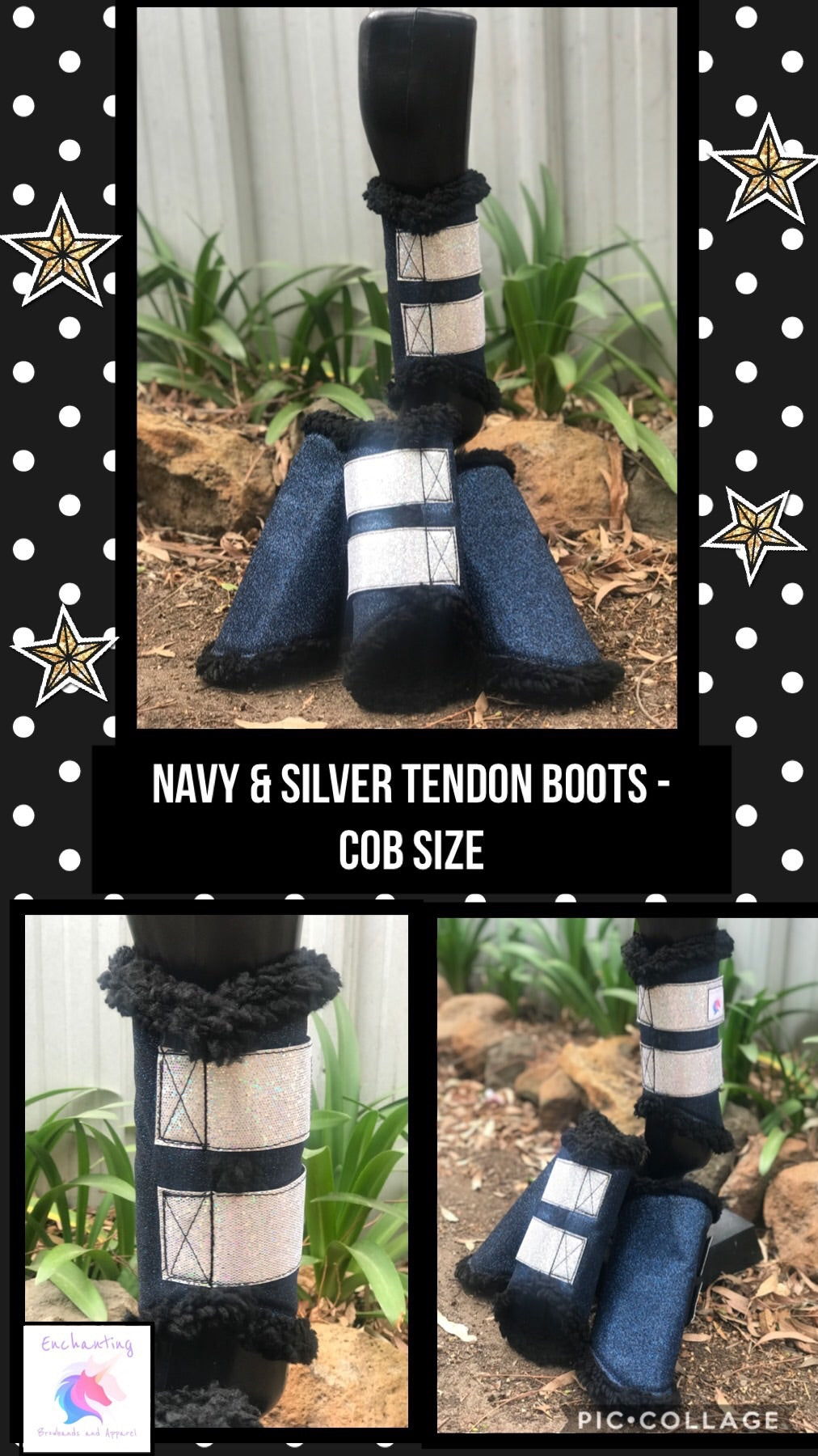 Navy & silver tendon boots