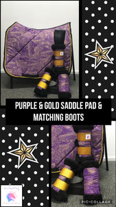 Purple & gold - saddle pad & set of 4 boot set