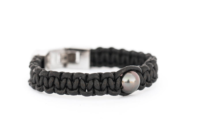 Black Tahitian Pearl Black Leather Bracelet