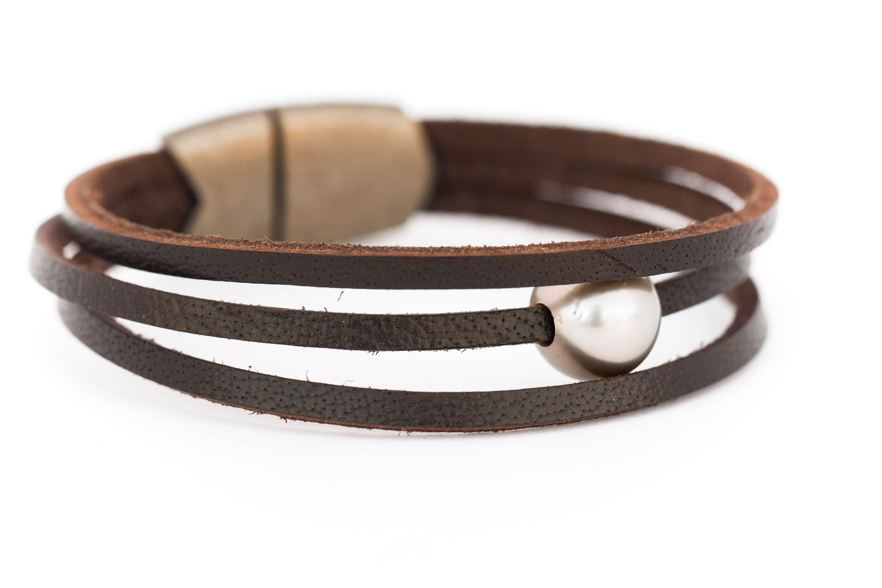 Black Tahitian Pearl Brown Leather Bracelet