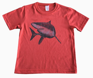 Kids and Youth Ring Spun T-shirt with Great White Shark Design