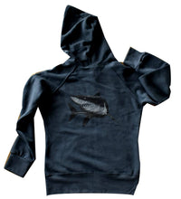 Ladies Three End Bamboo Hoodie with Great White Shark Design