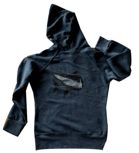 Mens Three End Bamboo Hoodie with Great White Shark Design