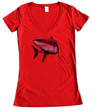 red bamboo v-neck tshirt shark design in black ink
