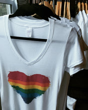Relaxed Fit V-Neck Bamboo T Shirt- Pride heart