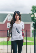 Relaxed Fit V-Neck Bamboo T Shirt- Narwhal