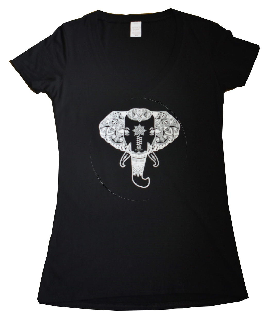 Women's Black V-Neck White Elephant Design