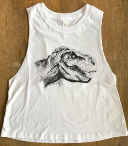 White crop top with dinosaur, t-rex design