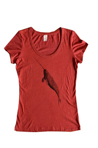 Women's Scoop Neck Flowy Tee- Narwhal or T-rex