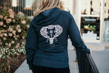 Navy Blue Woman's Zip up Hoodies Elephant design on back in white ink