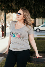 Alternative pic of heather grey vee neck tshirt with Feminist saying on front