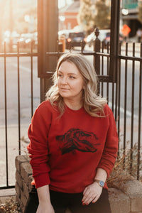 Red unisex pullover sweatshirt with T-Rex Dinosaur design on front in black ink