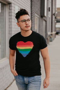 Black Ring Spun Cotton tee with Pride heart design