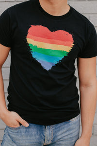 Ring Spun Cotton T-Shirt- Pride heart design