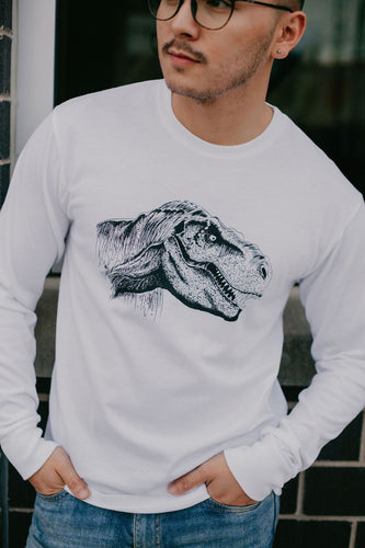 Long sleeve white jersey cotton blend tshirt with dinosaur design