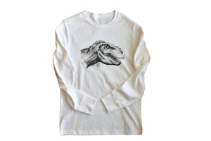 Long sleeve white jersey cotton blend tshirt with dinosaur T-Rex design