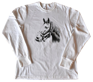 Fine Jersey Long Sleeve Tee with Horse Design