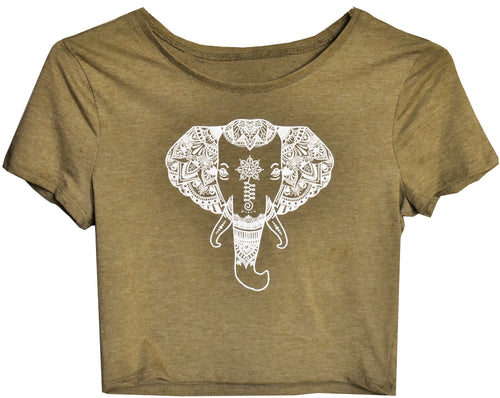 olive green crop top tee white elephant design