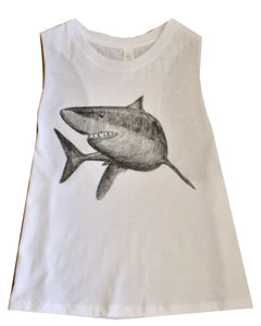 White Crop Racer-back Tank Top - Shark, Dinosaur (T-Rex) and Narwhal Design